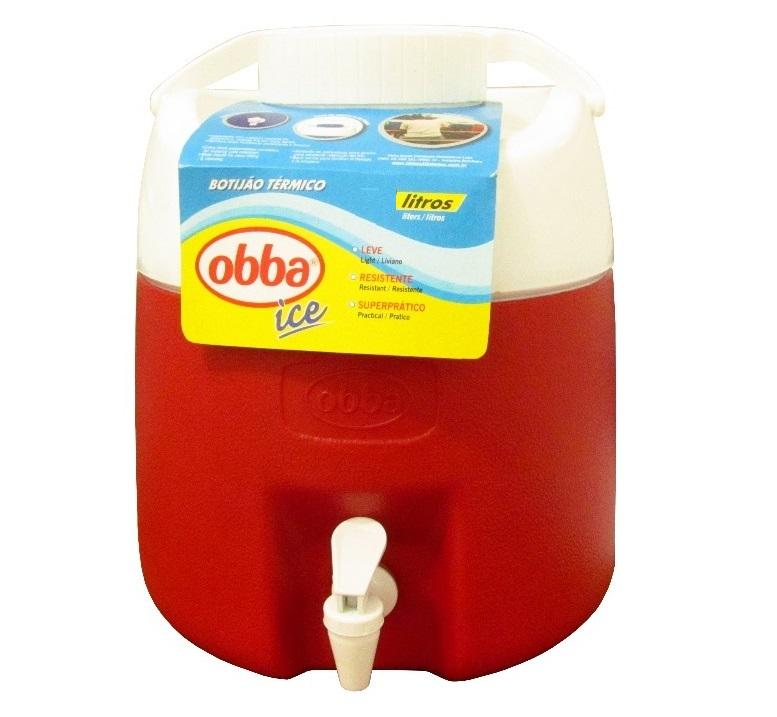 Botijão Térmico Obba Ice 4 Litros Vermelho Com Torneira  - Casafaz
