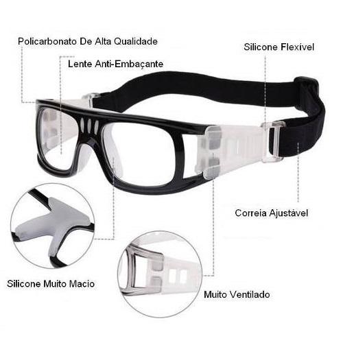Óculos Eyki De Futebol Basquete Preto Quad + Case  - Casafaz