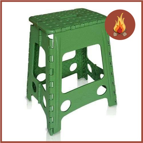 Banco Banqueta Dobrável Compacta Plastico Cadeira Camping Verde  - Casafaz
