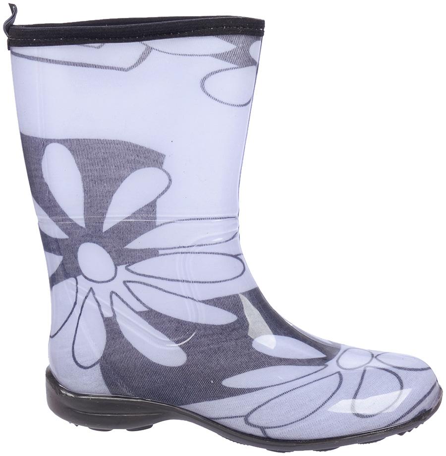 Galocha Alpat Fashion Cano Curto Preto Branco Flores