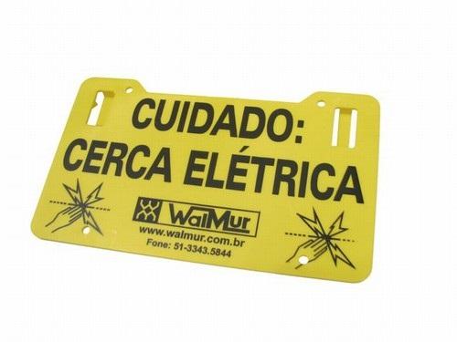 Placa Indicadora De Cerca Elétrica Tamanho 0.13 X 0.22cm Com 4 Unidades  - Casafaz