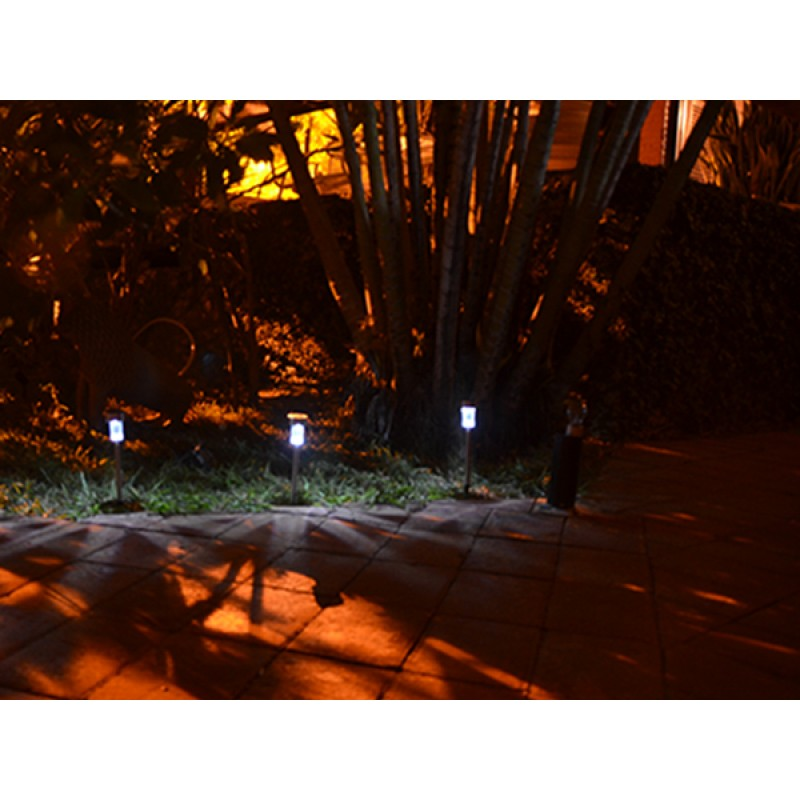 Luminária Solar Balizadora Inox Jardim Piscina Ecoforce 2 Unidades  - Casafaz