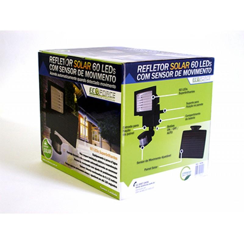 Refletor Solar 60 Leds Com Sensor Movimento Ecoforce  - Casafaz
