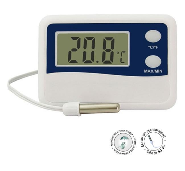 Termômetro Digital Max-Min Cabo 2Mt -50 +70 Refrigeração  - Casafaz