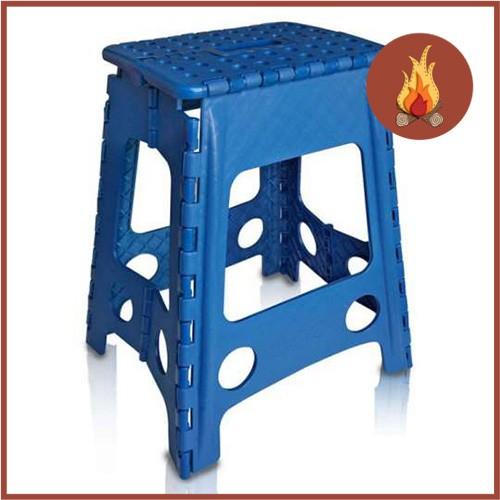 Banco Banqueta Dobrável Compacta Plastico Cadeira Camping Azul