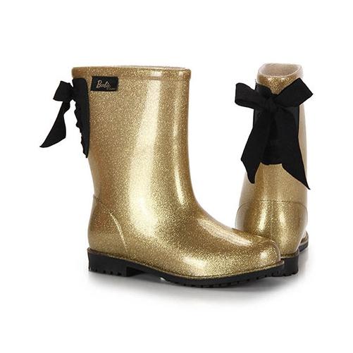 Bota Infantil Barbie Ouro Glitter Preto 52875 Galocha Grendene