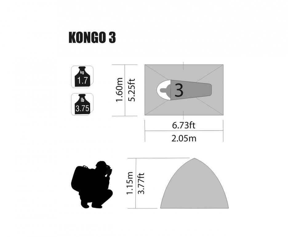 Barraca Kongo 3 Nautika 3 Pessoas 2,05 X 1,60 X 1,15 Mts  - Casafaz