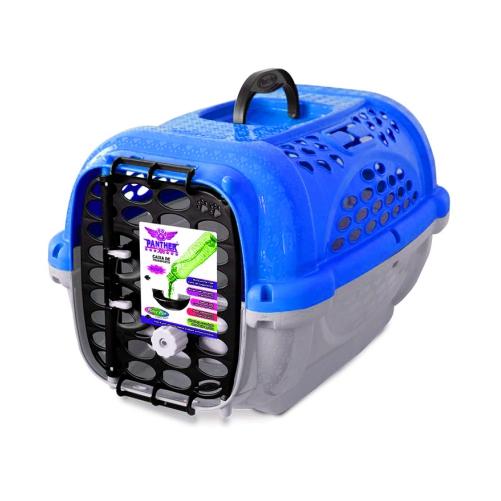 Caixa De Transporte Cães E Gatos Panther 3 Azul Com Pote  - Casafaz