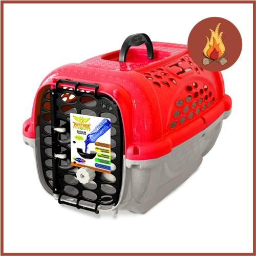 Caixa De Transporte Cães E Gatos Panther 3 Vermelha Com Pote