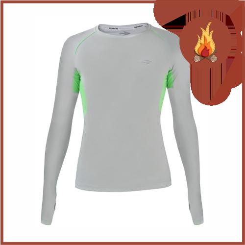 Camisa UV Mormaii Cinza Claro/ Verde Fluor Manga Longa Slim Fit UV50+