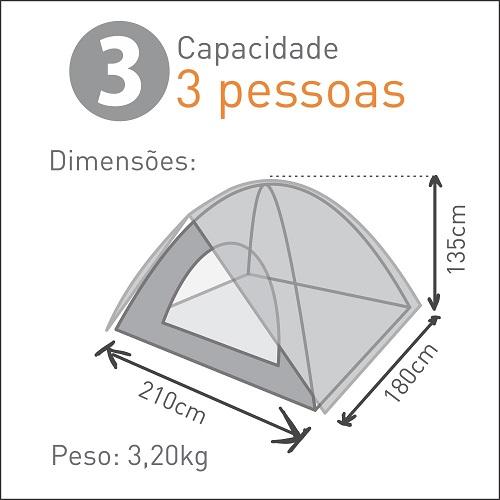 Barraca Vênus 3 Pessoas 2,10 X 1,80 X 1,35 Mts Guepardo  - Casafaz