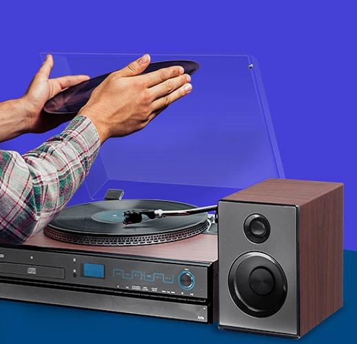 Vitrola Toca Discos Hi-Fi Raveo Aria Com CD, Rádio, FM, USB e SD  - Casafaz