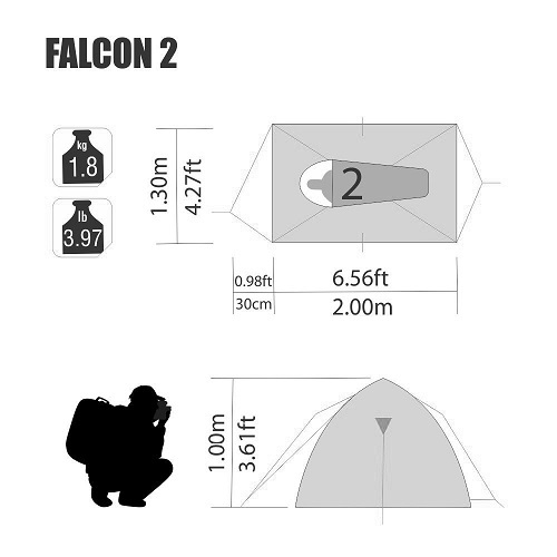 Barraca Falcon 2 Pessoas 2,00 X 1,30 X 1,00 Mts Nautika  - Casafaz