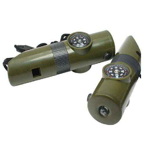 kIT Sobrevivência Apito Bússola Lanterna 6 Em 1  - Casafaz