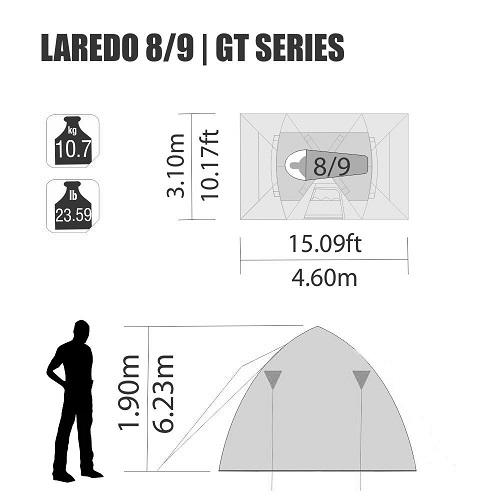 Barraca Laredo GT 8/9 Pessoas 4,60 X 3,10 X 1,90 Mts Nautika  - Casafaz