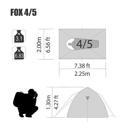 Barraca Fox 4/5 Pessoas 2,25 X 2,00 X 1,30 Mts Nautika  - Casafaz