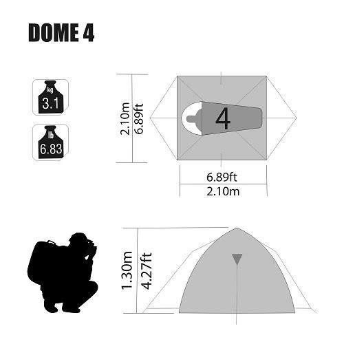 Barraca Dome 4 Pessoas 2,10 X 2,10 X 1,30 Mts Nautika  - Casafaz
