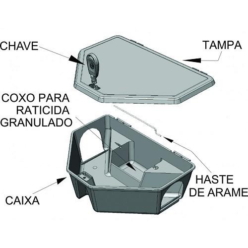 Porta Isca Raticida Veneno Rato Com Chave  - Casafaz