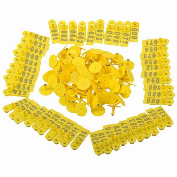Brinco Para Identificação de Cabra Ovelha Suínos Numerado 001 a 100 Amarelo 100 Unidades  - Casafaz