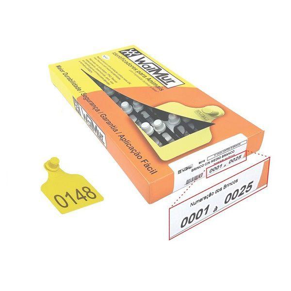 Brinco Walmur Para Identificação de Bovinos Médio Numerado 001 a 100 Amarelo 100 Unidades