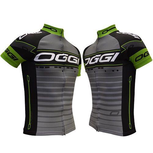 Camisa Ciclismo Oggi Bw Masculina Preto/Cinza/Verde Tamanho P