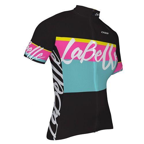 Camisa Ciclismo Oggi La Belle Feminina Preto/Rosa/Azul Tamanho G