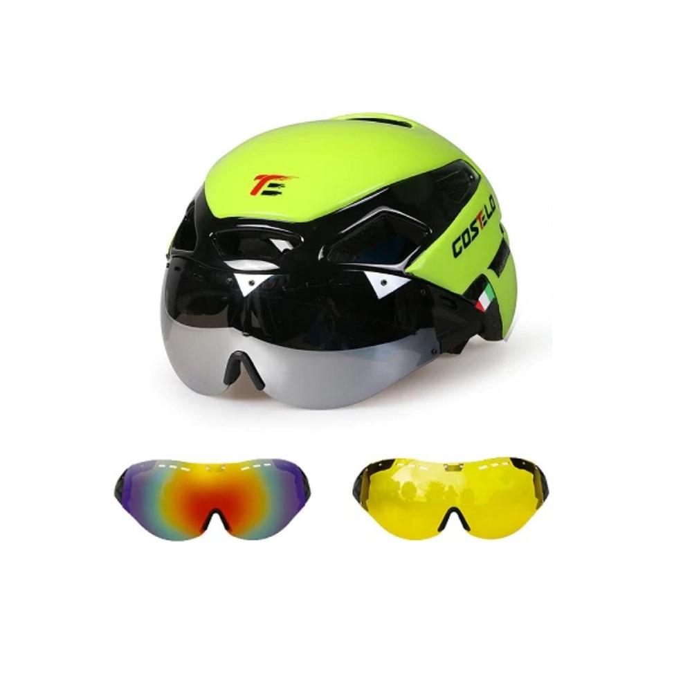 Capacete Ciclismo Costelo MTB Downhill Cobra 2 Speed 3 Lentes 55 a 60cm