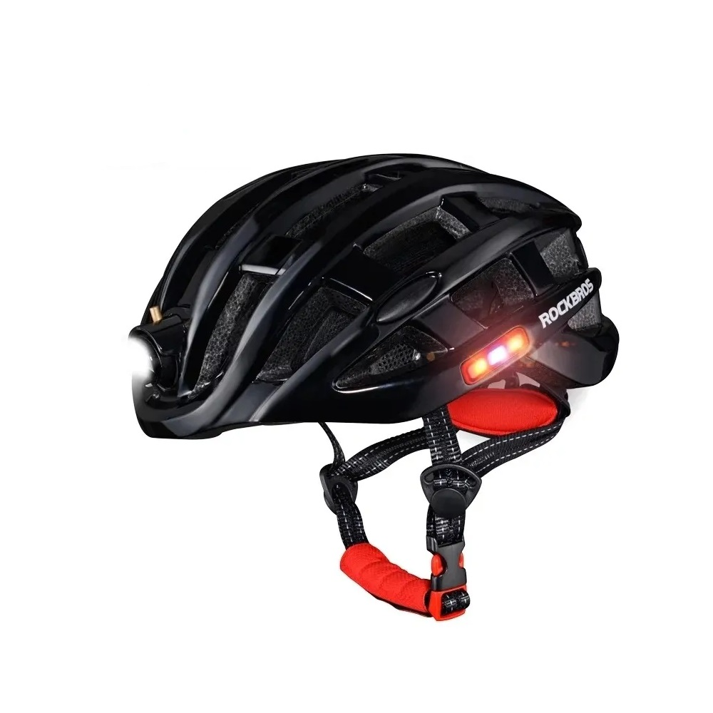 Capacete Ciclismo MTB Bike Mold Rockbros Com Farol Luz Traseira Luz Lateral 57 a 62cm
