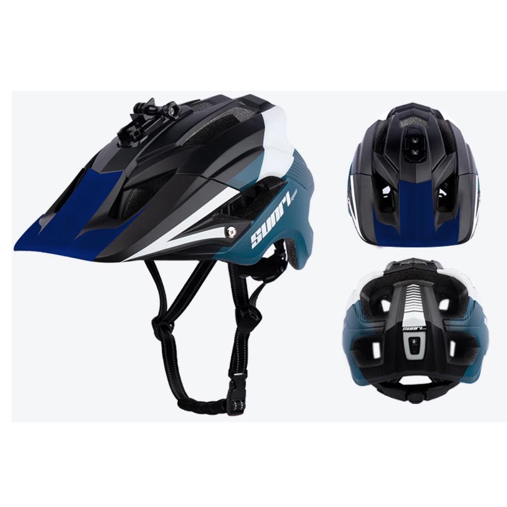 Capacete Ciclismo MTB Sunri TS-45 Com Led Usb Recarregável + Suporte Câmara Lanterna 55 a 61cm