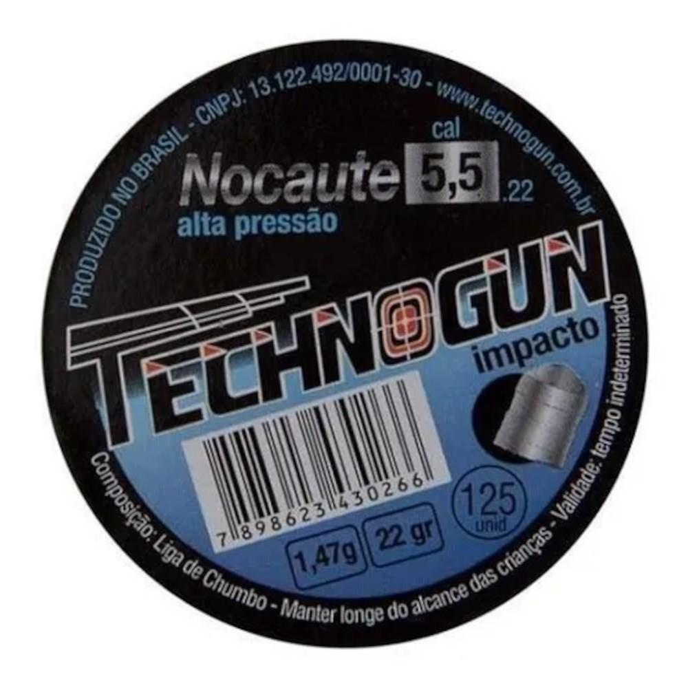 Chumbinho Carabina Technogun Nocaute Impacto 5,5mm 125