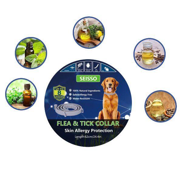 Coleira Antipulgas E Carrapatos Para Cães Proteção 8 Meses Seisso  - Casafaz