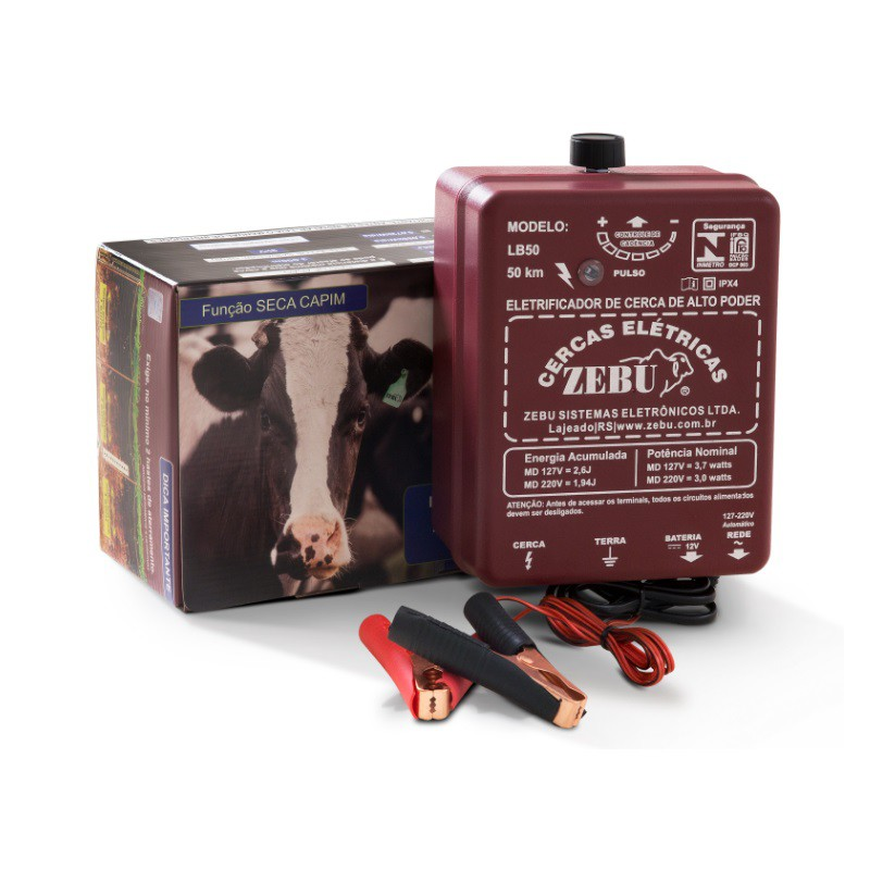 Eletrificador Rural Cerca Elétrica Zebu LB50 Aut. Bivolt e 12V