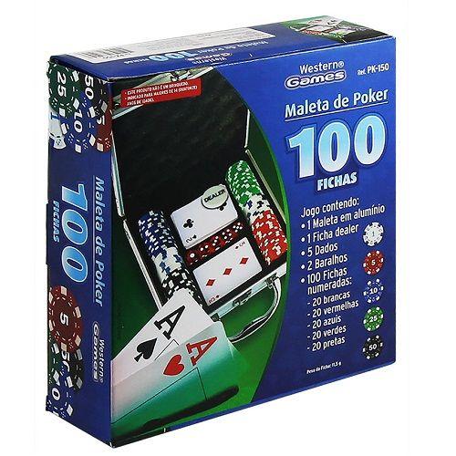 Jogo de Poker Com 100 Fichas Maleta Alumínio PK-150 Western  - Casafaz
