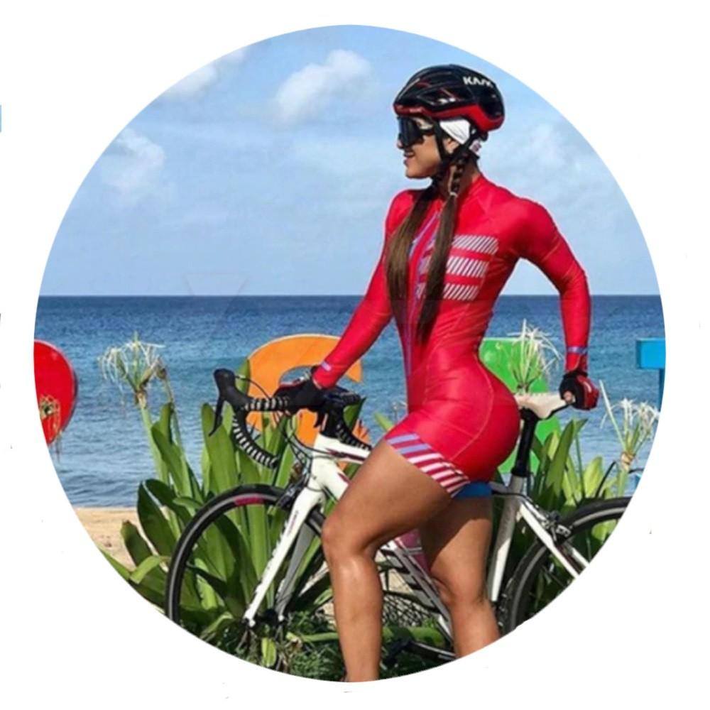 Macaquinho Ciclismo Feminino Manga Longa Vermelho
