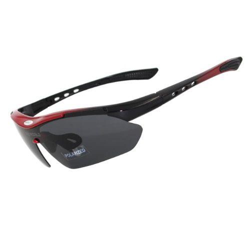 Óculos Ciclismo Esportes Polarizado 5 Lentes Vermelho HX1038B + Clip Lente De Grau