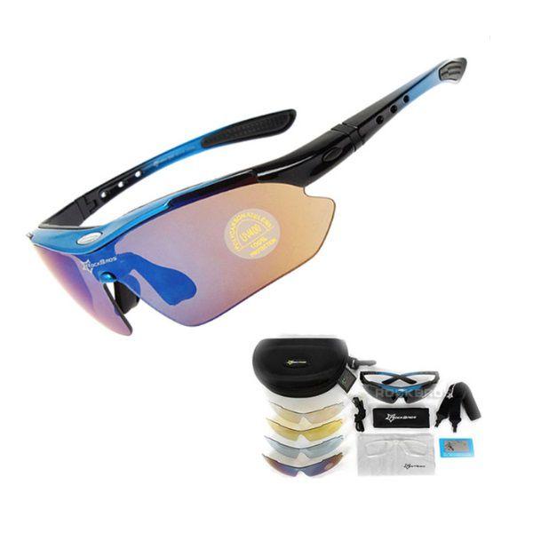 Óculos Ciclismo Esportes Polarizado Azul 5 Lentes Rockbros + Clip Lente De Grau