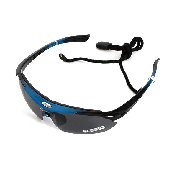 Óculos Ciclismo Esportes Polarizado Azul 5 Lentes Rockbros + Clip Lente De Grau  - Casafaz