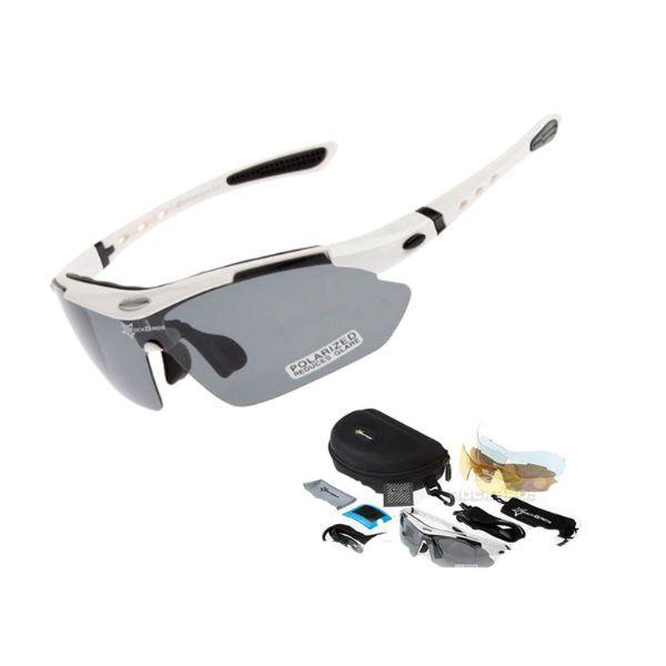 Óculos Ciclismo Esportes Polarizado Branco 5 Lentes Rockbros + Clip Lente De Grau