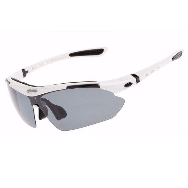 Óculos Ciclismo Esportes Polarizado Branco 5 Lentes Rockbros + Clip Lente De Grau  - Casafaz