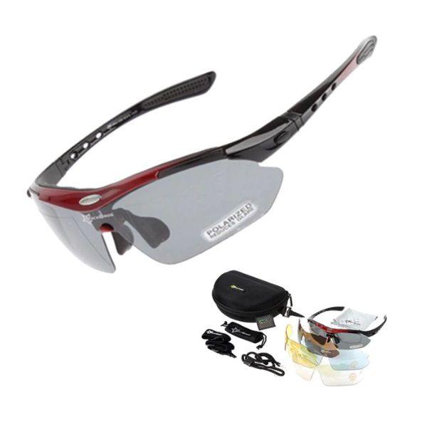 Óculos Ciclismo Esportes Polarizado Vermelho 5 Lentes Rockbros + Clip Lente De Grau