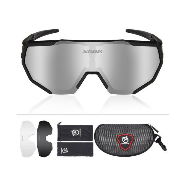 Óculos Polarizado Ciclismo Flight Jacket Queshark 3 Lentes Preto + Case
