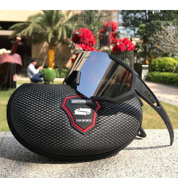 Óculos Polarizado Ciclismo Flight Jacket Queshark 3 Lentes Preto + Case  - Casafaz