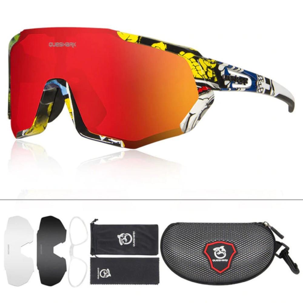 Óculos Polarizado Ciclismo Queshark Color 3 Lentes + Clip  - Casafaz