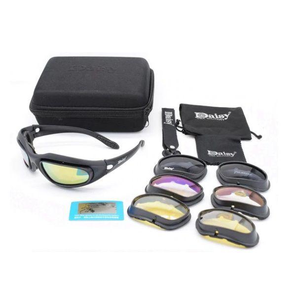 Óculos Tático Militar Proteção Airsoft Daisy C5 4 Lentes Polarizado