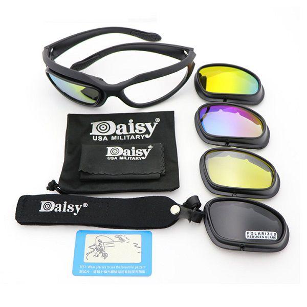 Óculos Tático Militar Proteção Airsoft Daisy C5 4 Lentes Polarizado   - Casafaz
