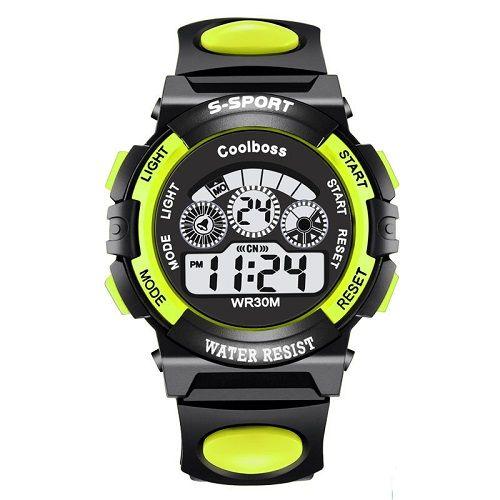 Relógio Esportivo Coolboss Preto Verde  - Casafaz
