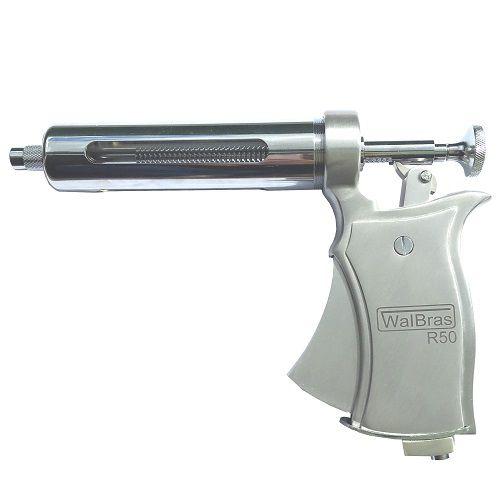 Seringa Automática R50 Para Vacinação de Bovinos WalBras 50ml Prata