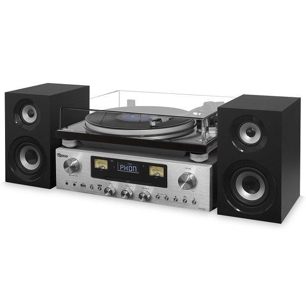Vitrola Toca Discos Hi-Fi Raveo Concert One Com CD, Rádio, FM, USB e SD  - Casafaz