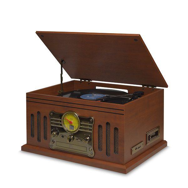 Vitrola Toca Discos Hi-Fi Raveo Stadio Com CD, Rádio, FM, K7, SD e USB