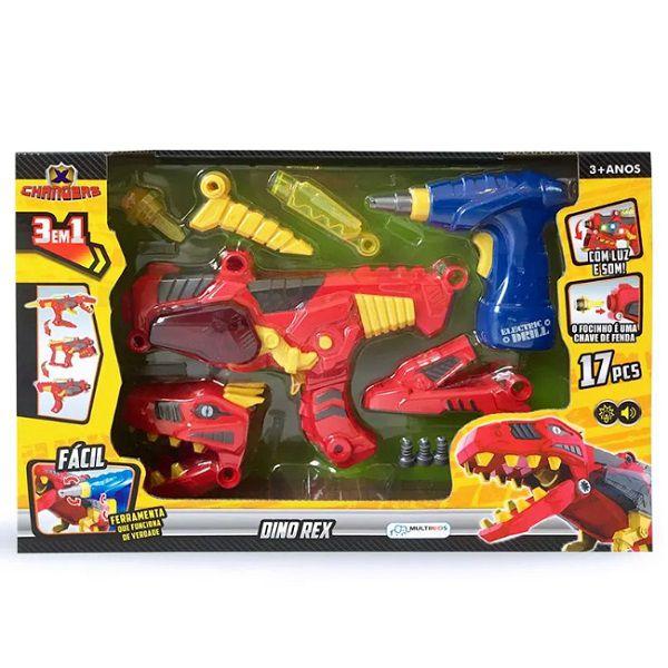X Changers Junior Dino Rex 3 em 1 Emite Luz e Som Vermelho Multikids - BR891